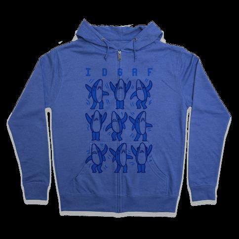IDGAF Dancing Shark Pattern Zip Hoodie