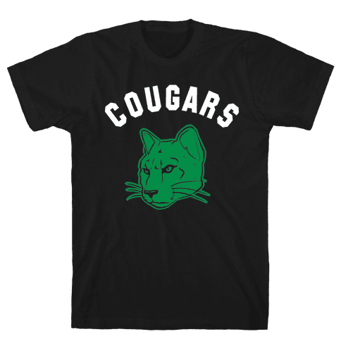 Cougar Green Black & White  Mens T-Shirt