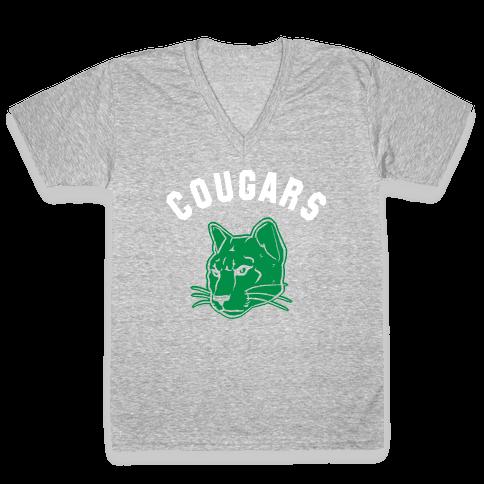 Cougar Green Black & White  V-Neck Tee Shirt