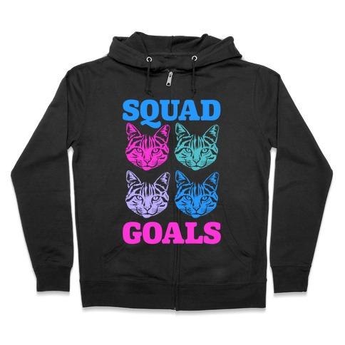 Cat Squad Goals Zip Hoodie
