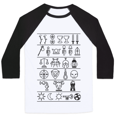 Tarot Card Icons Baseball Tee