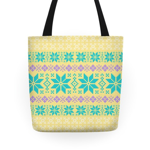 Sweater Pattern Print Yellow Tote