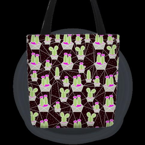Neon Geometric Cactus Pattern Tote
