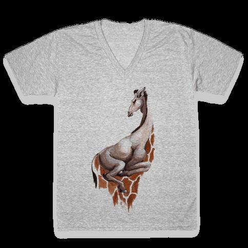 Spot Melt Giraffee V-Neck Tee Shirt