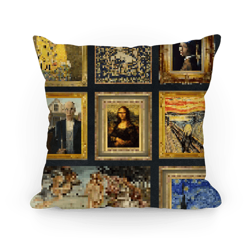 Pixel Classic Paintings Pillow