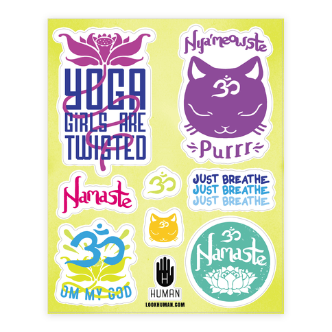 Namaste Yoga  Sticker/Decal Sheet