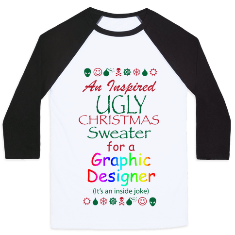 Ugly Christmas Sweater (For Graphic Designers) Baseball Tee