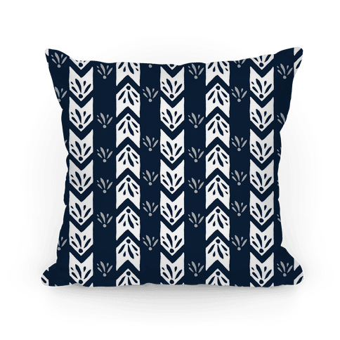 Navy Floral Chevron Pattern Pillow