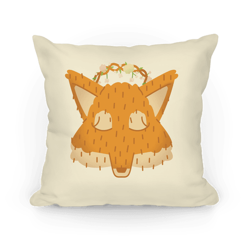 Flower Crown Fox Face Pillow