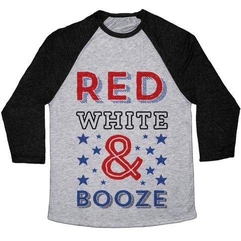 Red White & Booze Baseball Tee