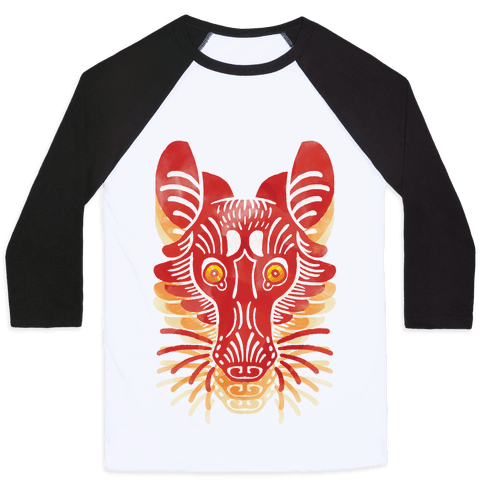 Symmetrical Gilded Fox Baseball Tee