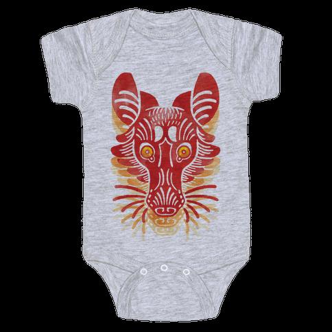 Symmetrical Gilded Fox Baby Onesy
