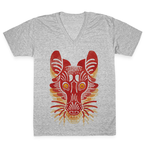 Symmetrical Gilded Fox V-Neck Tee Shirt
