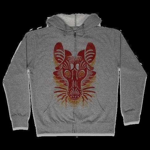Symmetrical Gilded Fox Zip Hoodie