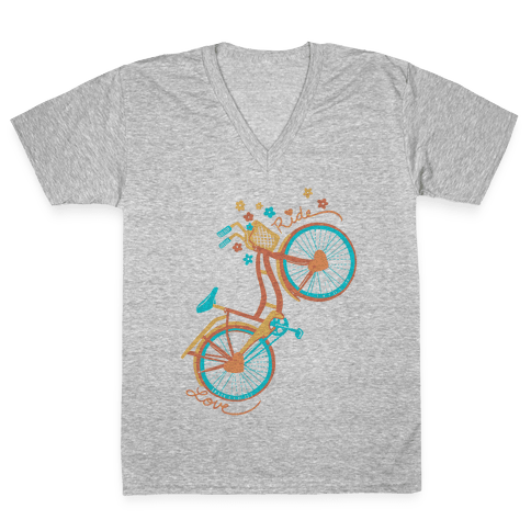 Love Your Ride: Colorful Bicycle V-Neck Tee Shirt