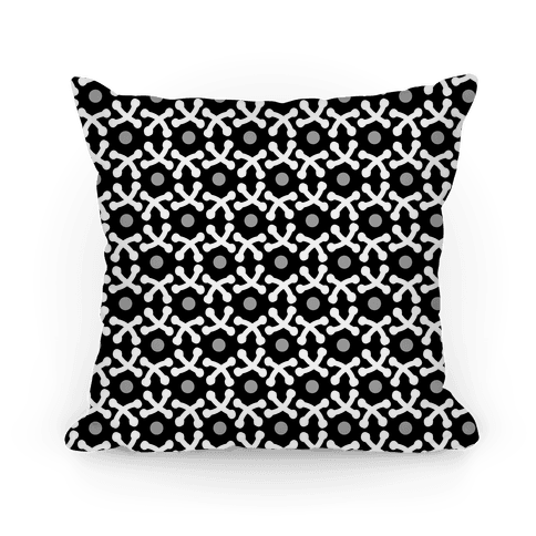Black and White Crafters Stitch Pattern Pillow