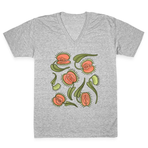 Venus Flytrap Vulvas V-Neck Tee Shirt