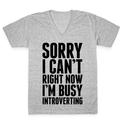 Sorry I Can't Right Now I'm Busy Introverting V-Neck Tee Shirt