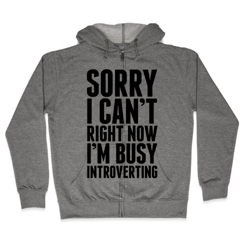 Sorry I Can't Right Now I'm Busy Introverting Zip Hoodie