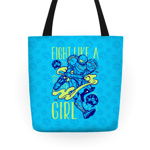 Fight Like A Girl Samus Parody Tote
