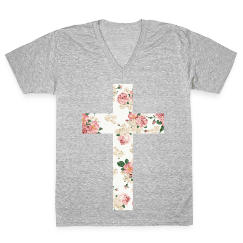 Floral Cross V-Neck Tee Shirt