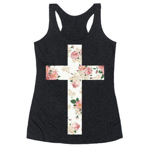 Floral Cross Racerback Tank Top