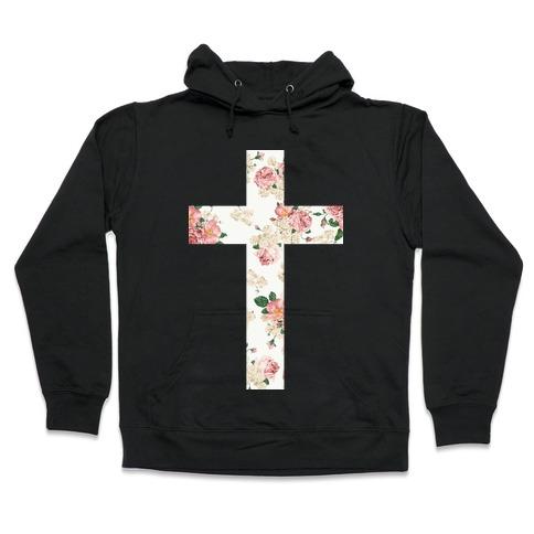 Floral Cross Hooded Sweatshirt