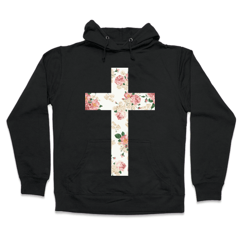 Floral Cross Hooded Sweatshirt
