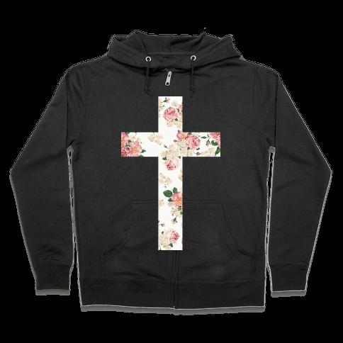 Floral Cross Zip Hoodie