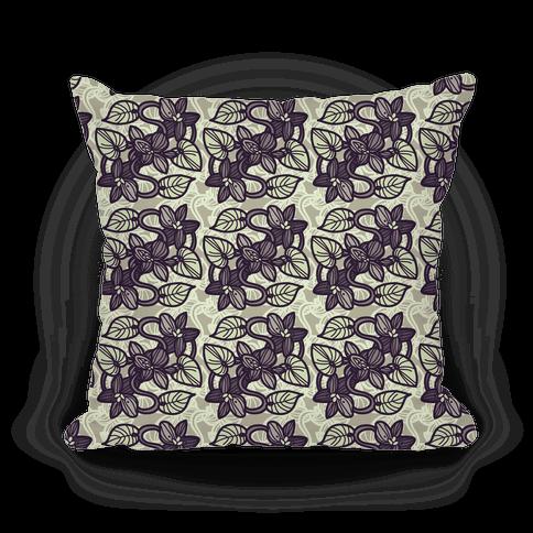 Muted Violet Pattern Pillow (Ochre)