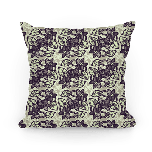 Muted Violet Pattern Pillow (Ochre)