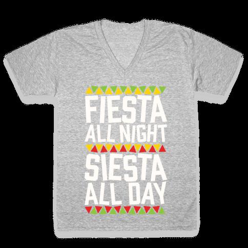 Fiesta All Night Siesta All Day V-Neck Tee Shirt