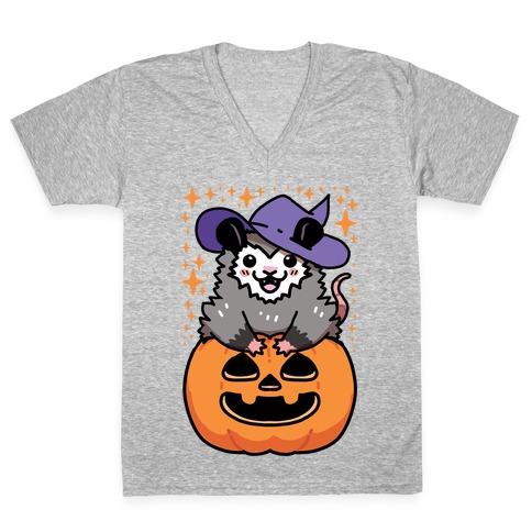 Cute Halloween Possum V-Neck Tee Shirt