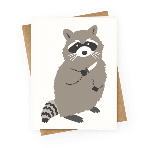 Raccoon With Knife Greeting Card