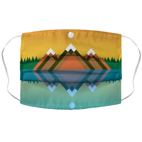 Mountain Lake Landscape Accordion Face Mask