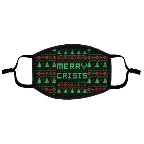 Merry Crisis Ugly Christmas Sweater Flat Face Mask