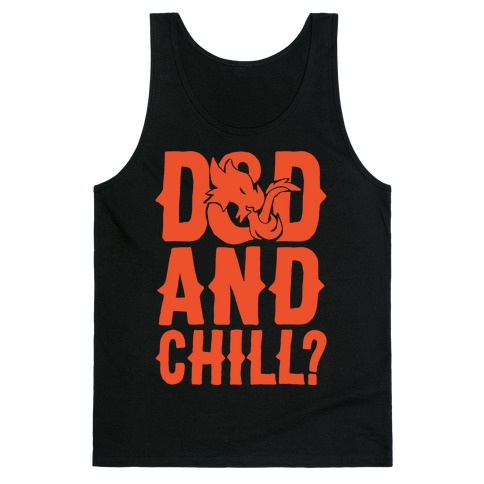 D & D and Chill Parody White Print Tank Top