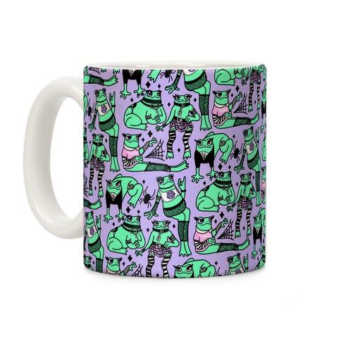 Goth Frogs Pattern Coffee Mug