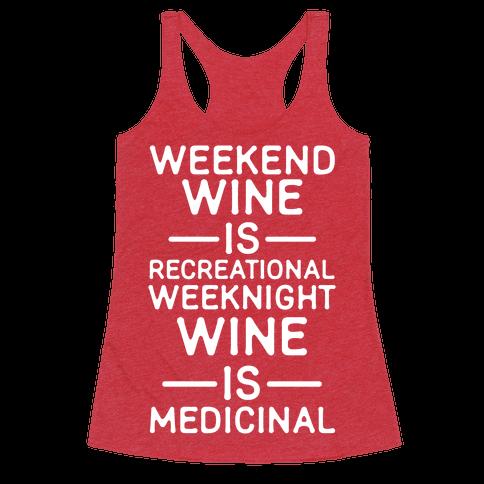 Weekend Wine is Recreational Weeknight Wine is Medicinal Racerback Tank Top