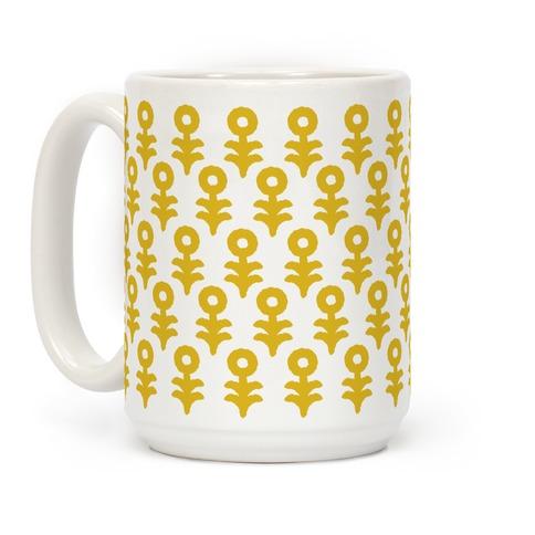 Minimal Flower Boho Pattern Yellow Coffee Mug
