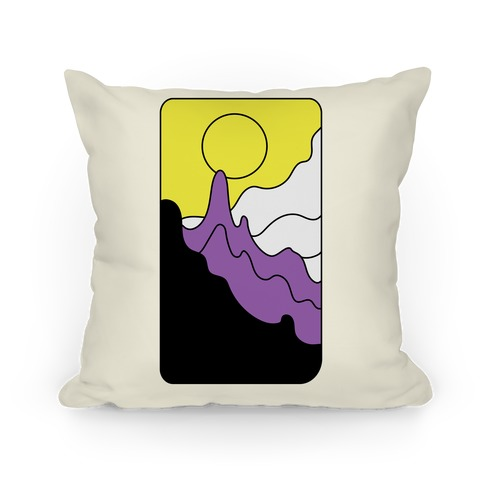 Groovy Pride Flag Landscapes: Nonbinary Flag Pillow