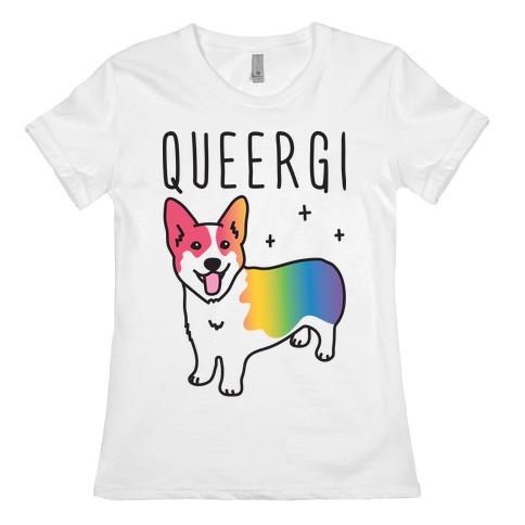 Queergi LGBTQ Corgi Womens T-Shirt