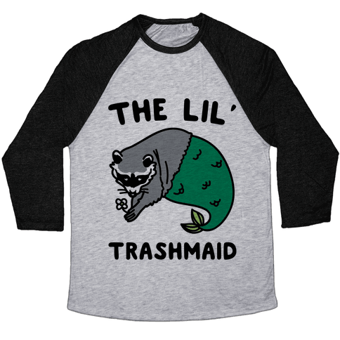 The Lil' Trashmaid Raccoon Mermaid Parody Baseball Tee