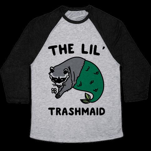 The Lil' Trashmaid Raccoon Mermaid Parody Baseball Tee