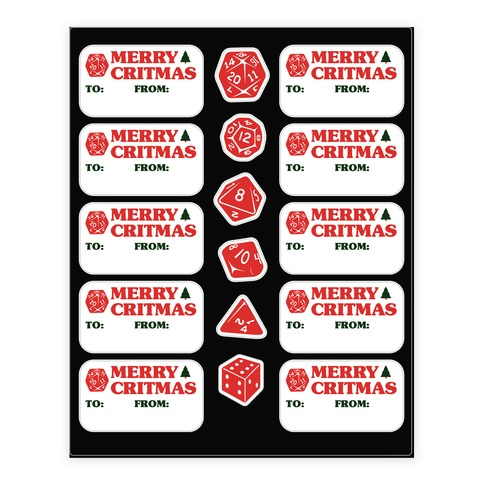 Merry Critmas DnD - Christmas Gift Tags Sticker/Decal Sheet