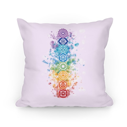 Watercolor Chakra Symbols Pillow