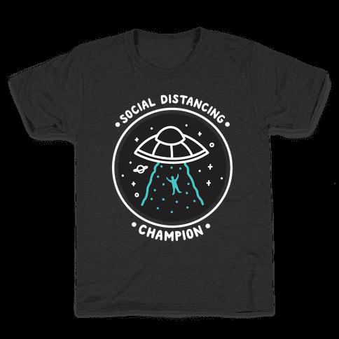 Social Distancing Champion UFO Kids T-Shirt