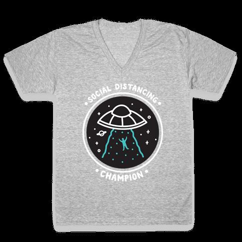 Social Distancing Champion UFO V-Neck Tee Shirt