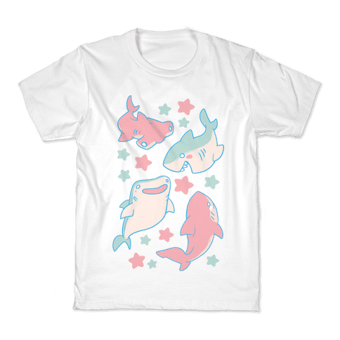 Happy Shark Pattern Kids T-Shirt