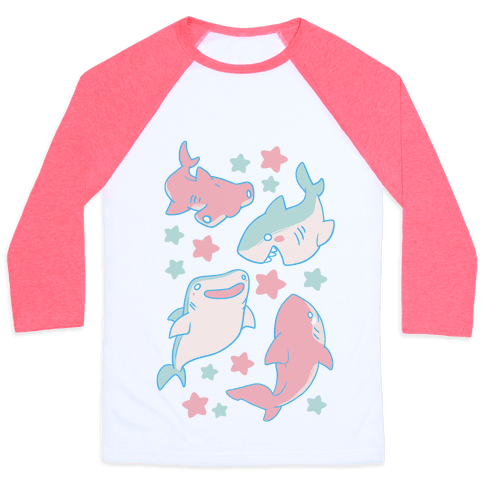 Happy Shark Pattern Baseball Tee